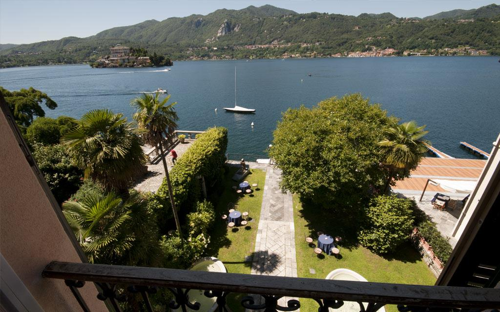venue garden with view of Lake Orta